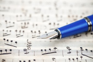 Sheet music with fountain pen